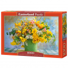 Spring flowers in green vase - Puzzle 1000 delova